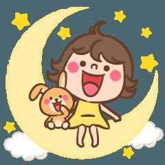[LINEスタンプ] 女の子とウサギ ☾ 元気な挨拶スタンプの画像(メイン)