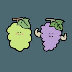 [LINEスタンプ] ぶどうと畑の生き物たち