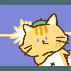 [LINEスタンプ] 魚餅- レモンにゃんこと葉っぱ