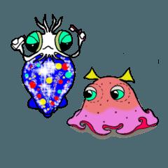 [LINEスタンプ] 深海のイカとタコ